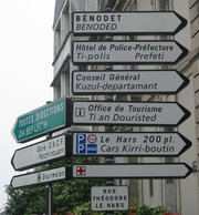 Bilingual road signs can be seen in traditional Breton-speaking areas