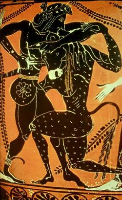 Theseus battles the Minotaur on a black-figure vase