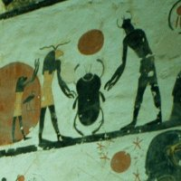 A scarab beetle, depicted on the walls of Tomb KV6 in the Valley of the Kings
